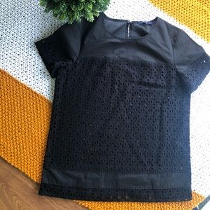Madewell Black eyelet Lace Top